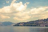 Landscape of Lake Orestiada, near Kastoria, Greece