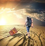 Man traveling in desert