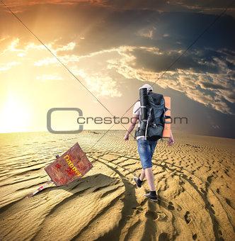 Man traveling in desert