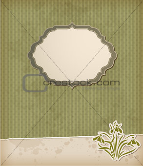 Green background with snowdrops