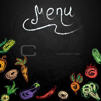 Chalkboard with vegetables for restaurant menu