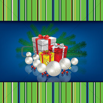 Abstract celebration background with Christmas gifts and decorat