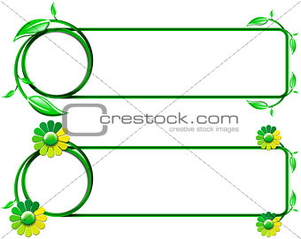 Green Banners with Leaves and Flowers