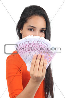Beautiful casual muslim woman holding a lot of money