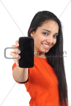 Beautiful casual muslim woman showing a blank smartphone screen