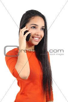 Beautiful casual muslim woman talking on the mobile phone