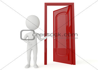 3d humanoid character with a open door