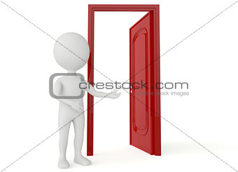 3d humanoid character with a open red door
