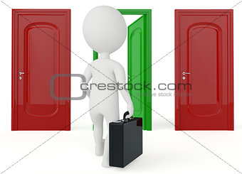 3d humanoid character go to a open door