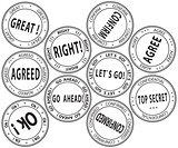Set of bureaucratic stamps - vector illustration