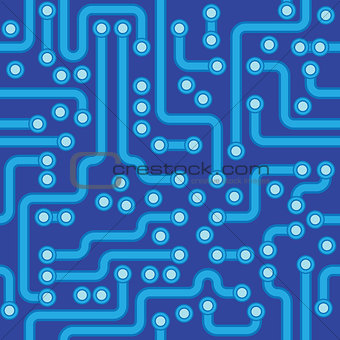 Circuit board - blue abstract vector seamless texture
