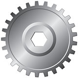 One steel gear - vector