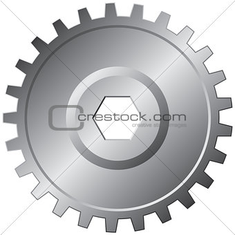 One steel gear - vector