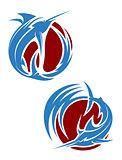 Marlin fish mascots