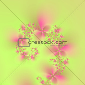 Green and Pink Spiral Flowers