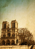 Retro Notre Dame Cathedral in Paris