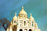 Retro Sacre-Coeur church in Montmartre