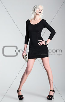 Studio fashion shot: beautiful girl in black dress with clutch in hand