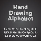 Hand drawing alphabet with chalk, vector Eps10 illustration.