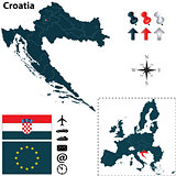 Map of Croatia with European Union
