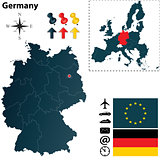 Map of Germany and European Union