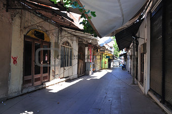 Closed bazar in Pergamon, turkey