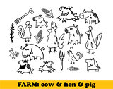 Farm set - cows, hens, pigs