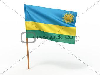 flag fluttering in the wind. Rwanda