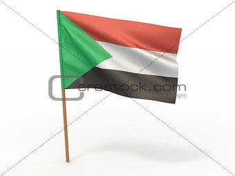 flag fluttering in the wind. Sudan