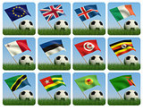 Soccer ball in the grass and the flag. 3d