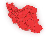 Three-dimensional map of Iran