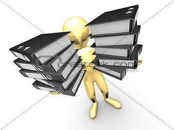 Men with folders on white isolated background