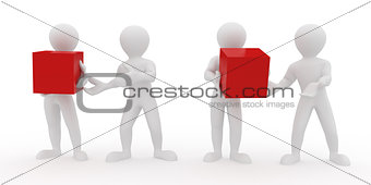 Conceptual image of teamwork. 3d