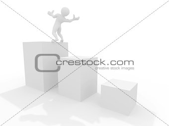 Men on the edge of carreer. Conceptual image. 3d
