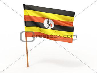 flag fluttering in the wind. Uganda