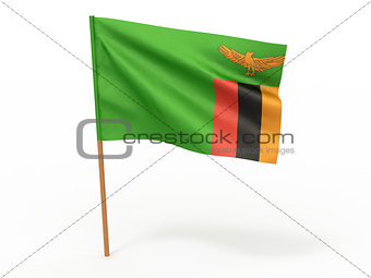 flag fluttering in the wind. Zambia