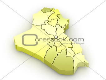 Three-dimensional map of Iraq