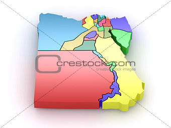Three-dimensional map of Egypt. 3d