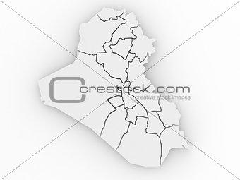 Three-dimensional map of Iraq