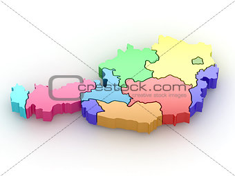 Three-dimensional map of Austria. 3d