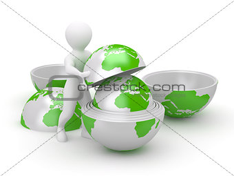 Men with earth on white isolated background