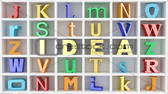 Word idea and letters on white isolated background