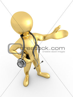 Men with stethoscope on white isolated background