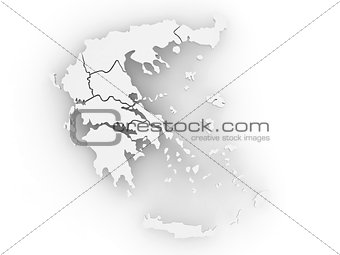Three-dimensional map of Greece