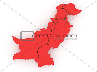 Three-dimensional map of Pakistan