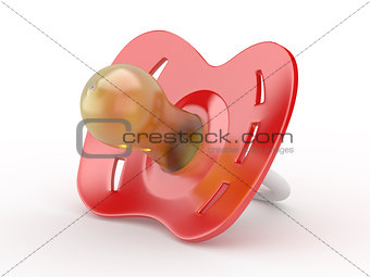 Baby's dummy on white isolated background