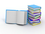Stack of books on white isolated background