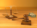 Rights. Judge gavel, scale and money