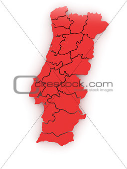 Three-dimensional map of Portugal