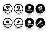 Organic food, fresh and natural products icons set